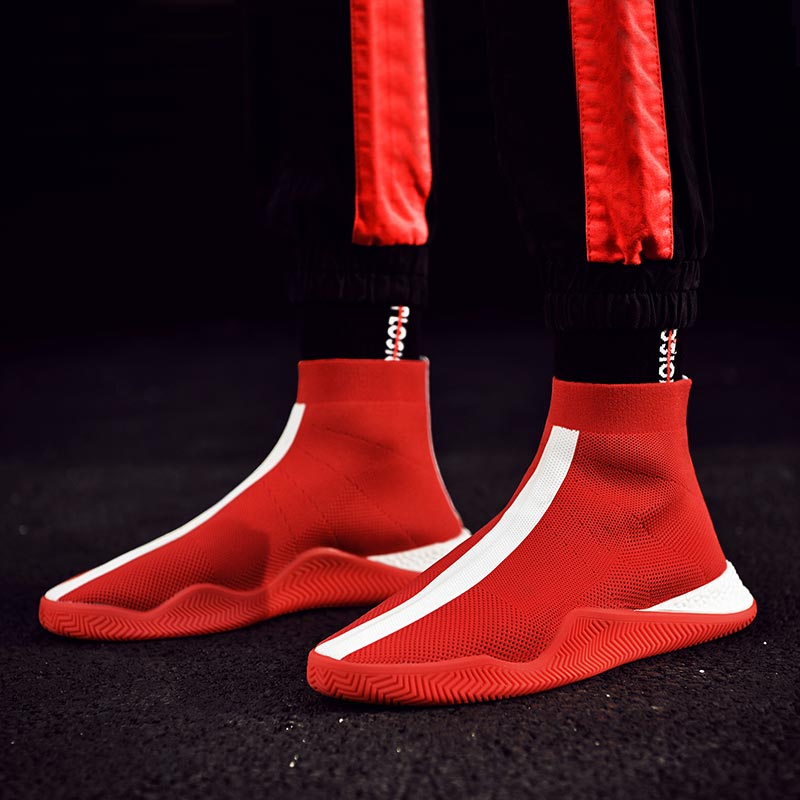 High Top Slip On Socks Sneakers Mens Running Shoes Sports Men Sport Shoes Red Zapatos De Hombre Athletic Krasovki Walking C-226