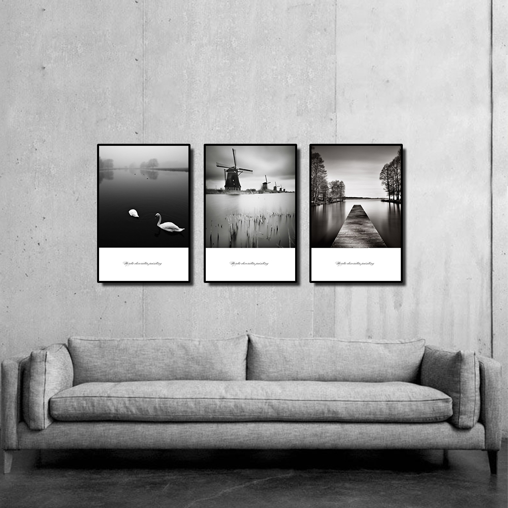 Canvas Paintings Riverside Windmill View Living Room Decoration Painting Black And White Wall Art Posters And Prints in Painting Calligraphy from Home Garden