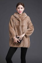 Autumn, winter, new skin, mink fur, grass coat, whole mink, round neck, women's warm coat