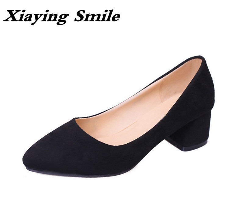 Xiaying Smile Woman Pumps British Style Women Shoes Spring Summer Square Heels Office Lady Career Slip On Flock Rubber Shoes xiaying smile summer woman sandals platform wedges heel women pumps buckle strap fashion mixed colors flock lady women shoes