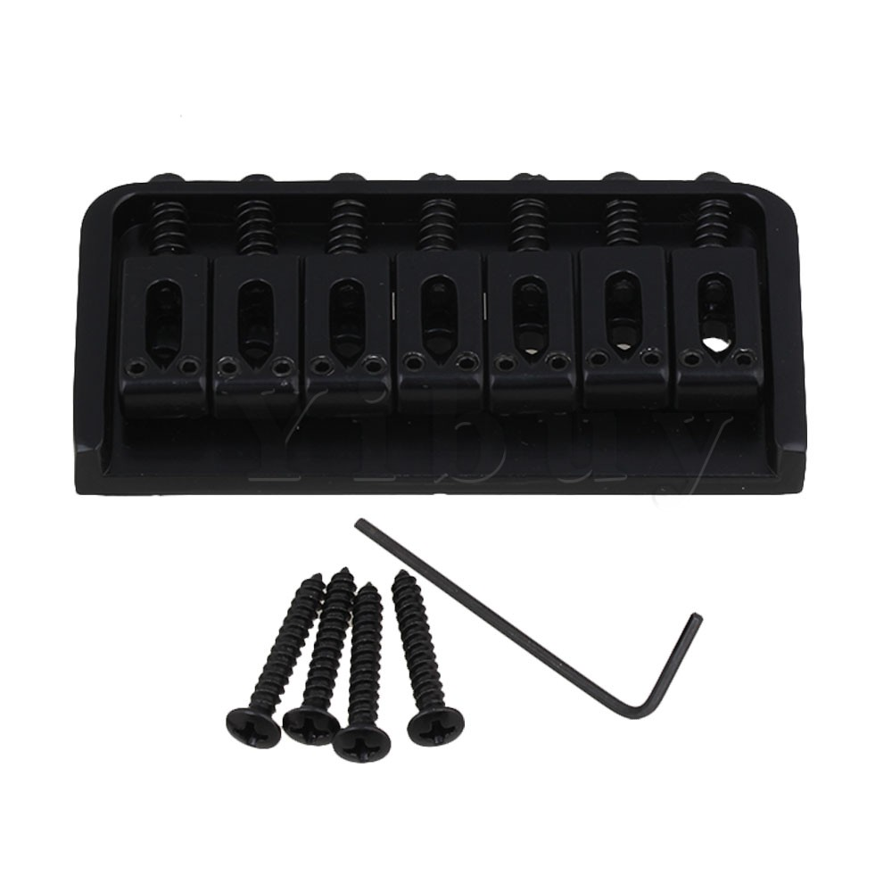 Yibuy Black 7 String Fixed Bridge Replacement for Electric Guitar with Screw