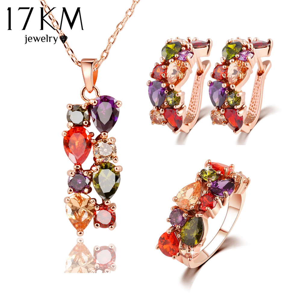 Trendy Color Crystal Jewelry Sets Flower Pendant Necklace Stud Earrings Ring Fashion Jewelry