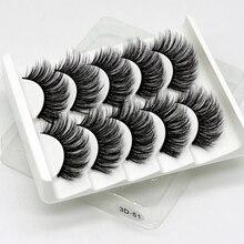 Faux cils 3D en vison, Extension cosmétique pour les yeux, naturelles et épaisses, fait main, outil de maquillage, 5 paires
