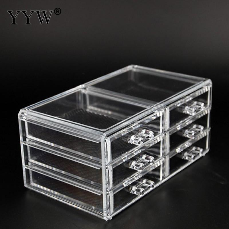 2 pcs/Lot acrylique Transparent maquillage organisateur boîtes de rangement maquillage organisateur Case pour bijoux organisateur maison tiroirs stockage