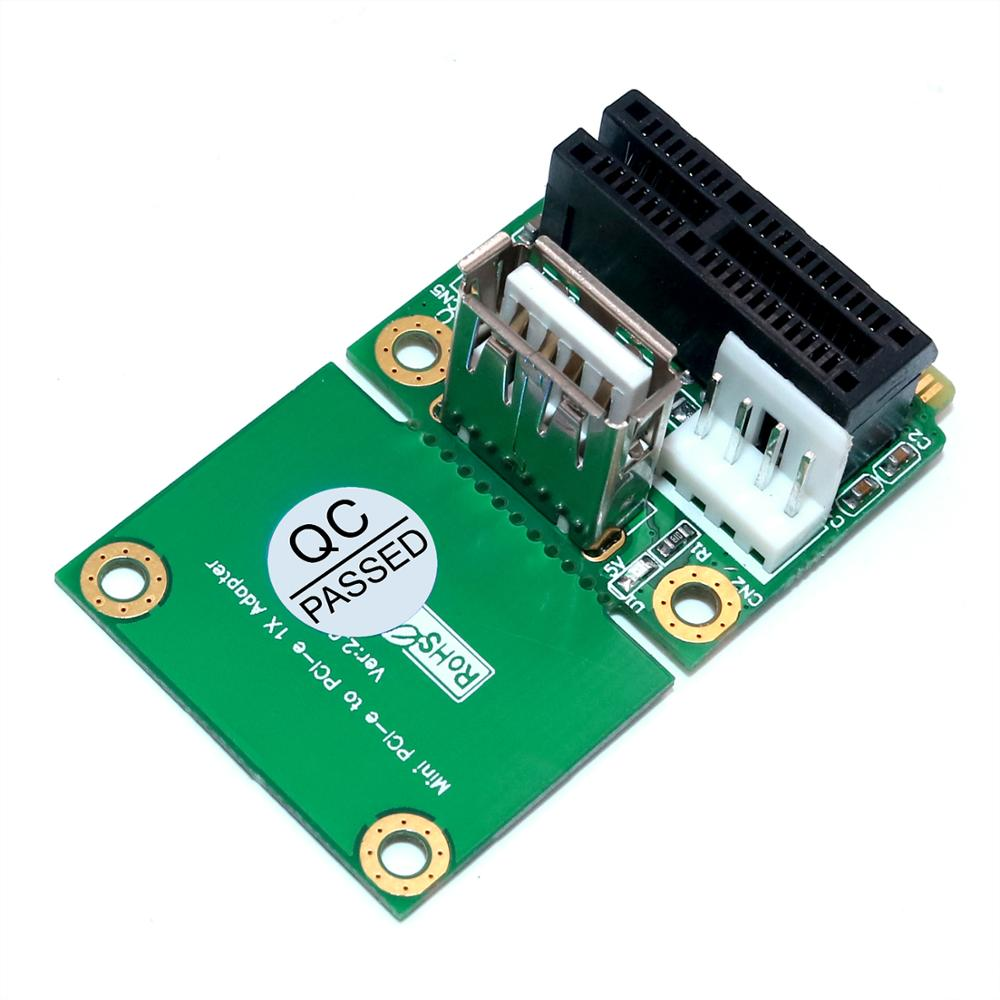 Mini <font><b>PCIE</b></font> <font><b>to</b></font> <font><b>PCI</b></font> Express 1x with USB 2.0 interface support Half/ Full Mini <font><b>PCIE</b></font> <font><b>Adapter</b></font> Card 4Pin Power Supply for PC host image