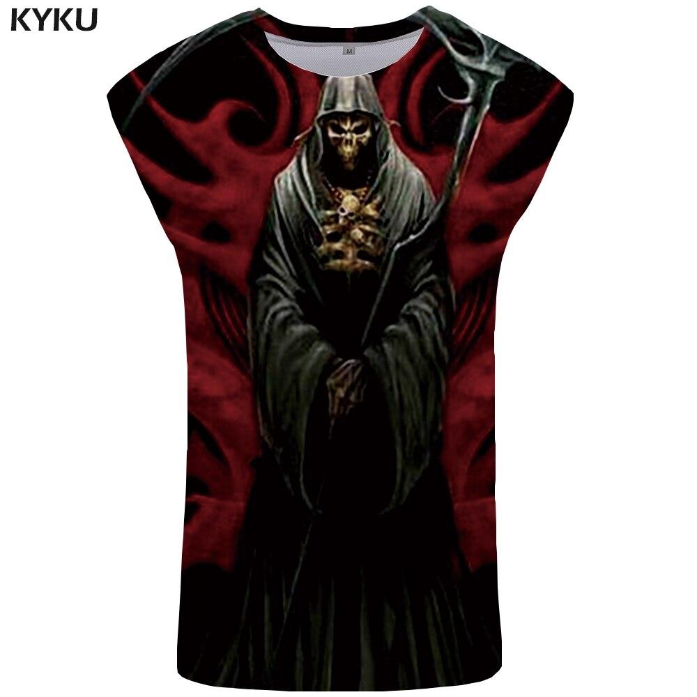 KYKU Skull   Tank     Top   Men Black Anime Vest Ftness Mens Clothing 3D Bodybuilding Undershirt Devil Tanktop Casual Sleeveless Shirt