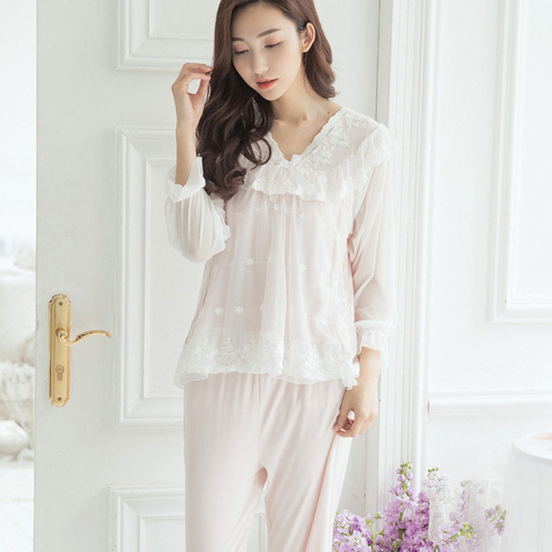 RenYvtil Sweet Palace Pajamas Suit Lace Sexy Sleepwear Women Thin  Modal Princess Cotton Long-Sleeve Home Wear Suit Dropshipping