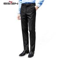 Seven7 Brand Classic Black Casual Pants Men Slim Fit Cotton Male Trousers Plain Front Business Formal