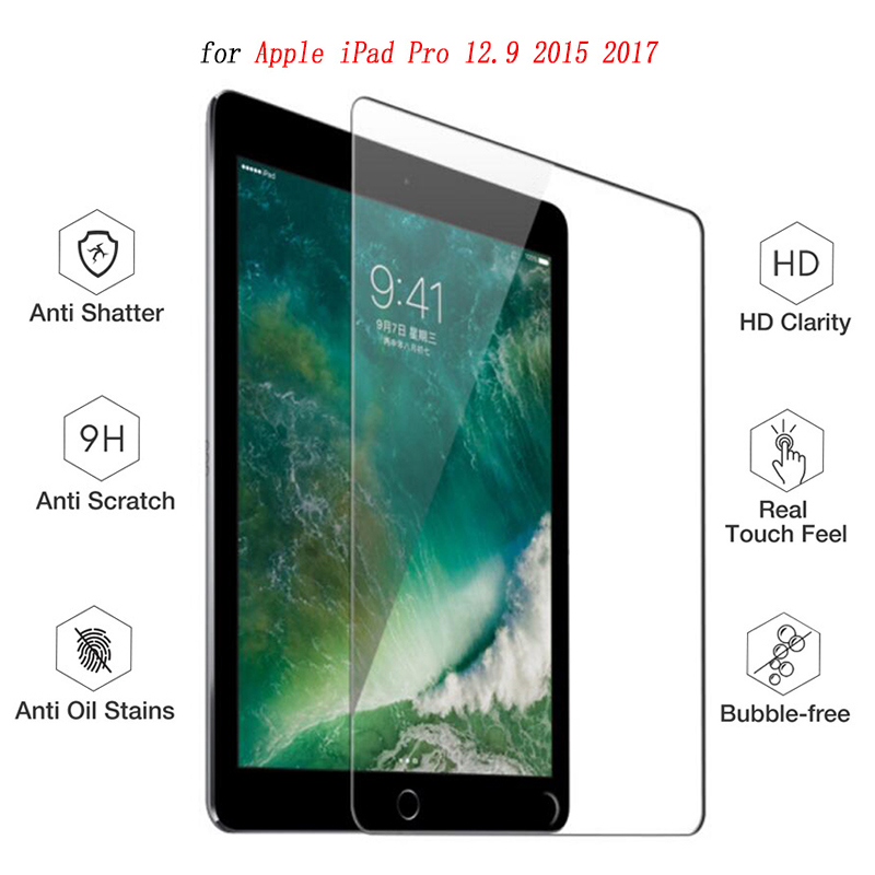 9H Screen Protector for iPad Pro 12.9 Tempered Glass Tablet Protective Screen film Anti-Scratch for iPad Pro 12.9 inch 2015&2017 high clear glossy screen protector film for dell venue 11 pro 10 8 tablet anti scratched hd lcd screen protective films