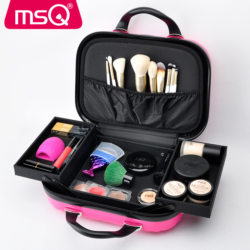MSQ Girls Portable Professional Cosmetic Case 4 Color Optional Bride with Multi-layer Makeup Artist Special Box Makeup Tools ожерелье bride makeup frontlet
