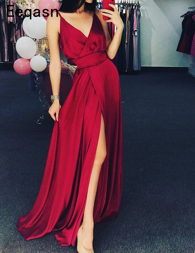 Charming Burgundy Satin Evening Dresses 2018 Sexy Backless High Slit Formal Party Gowns Spaghetti Straps Robe De Soiree