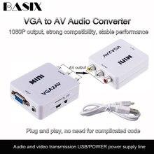 Basix 1080P VGA Zu AV RCA Konverter mit 3,5mm Audio VGA2AV/CVBS Adapter für PC Zu HD TV Konvertieren NTSC PAL SXGA Vga Zu AV Kabel