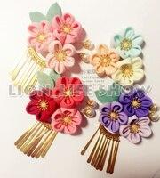 Японские гейши кимоно юката цветочным Головные уборы зажим для волос Haripin Ленточки