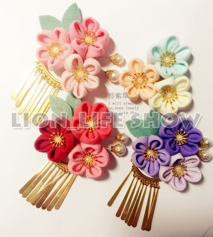 Japanische Kimono Yukata Blume Floral Headwear Haar Clip Haripin Quasten