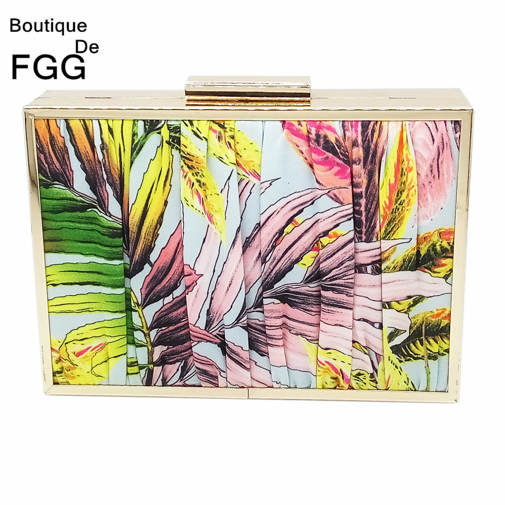 Boutique De FGG Pleated Flowers Striped Women Metal Day Clutches Handbag Evening Wedding Purse Chain Shoulder Crossbody Hand Bag new women s retro hand beaded evening bag wedding bridal handbag chain shoulder bag stitching sequins diamond stone day clutches