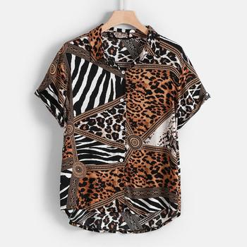 Koszula męska z krótkim rękawem stójka koszula z kołnierzykiem w stylu Casual letnia koszulka z klapą w paski wzór w cętki Top hawajska koszulka homme tanie i dobre opinie CLASS OF 2030 COTTON Koszule Skręcić w dół kołnierz Pojedyncze piersi REGULAR 1 X Men Tops Suknem Na co dzień Leopard