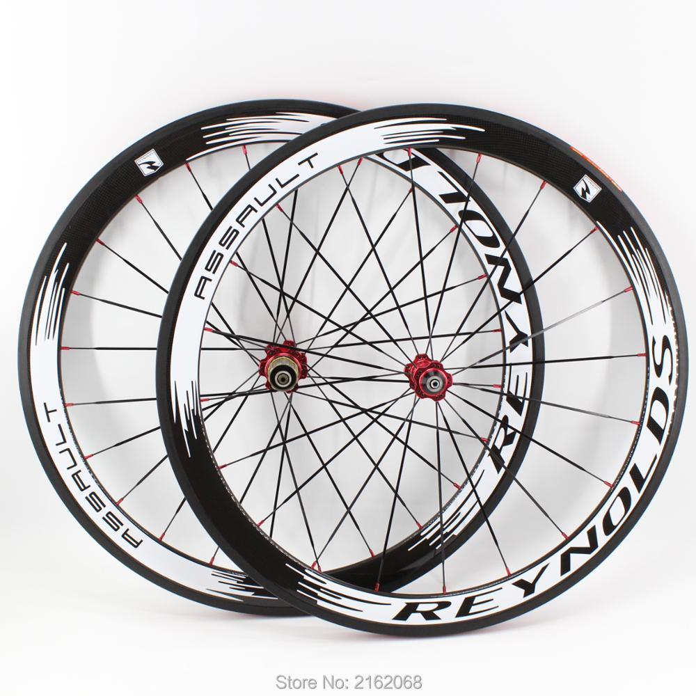 Newest white 700C 50mm clincher rims Road bike 3K UD 12K full carbon bicycle wheelsets aero
