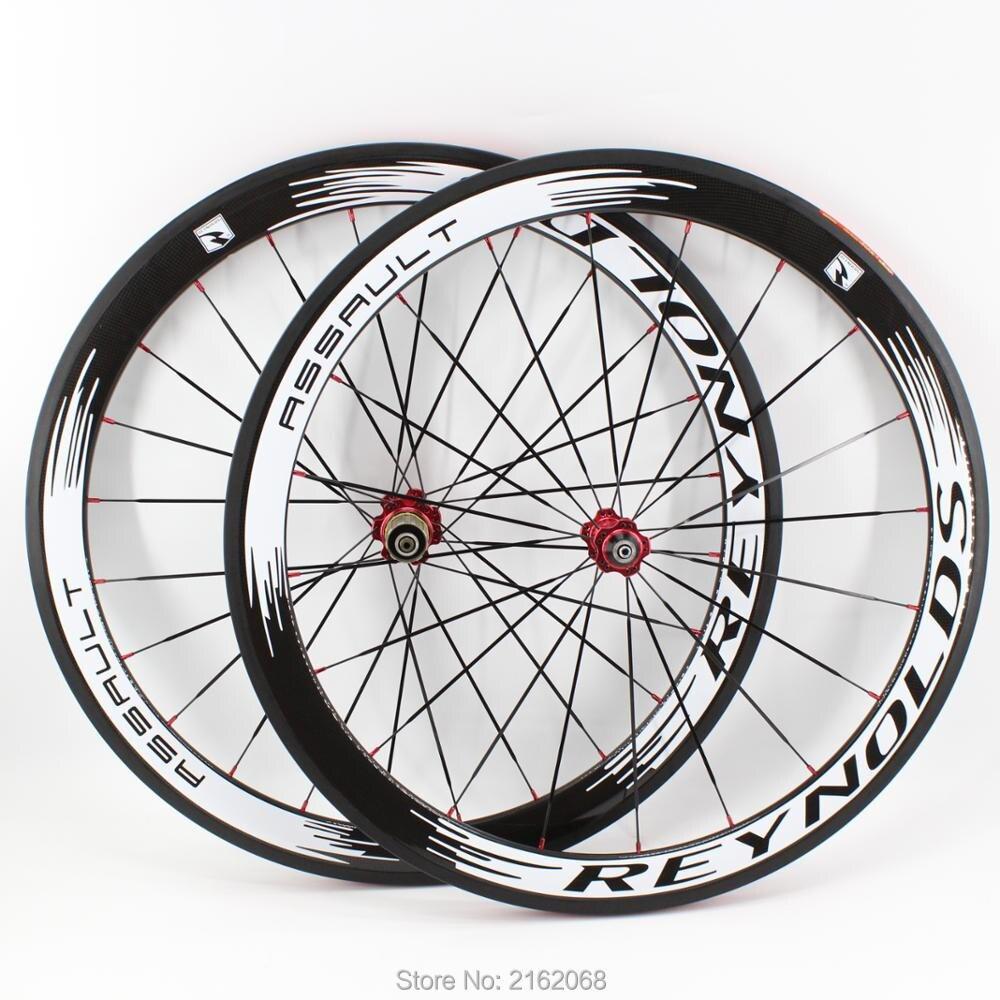 Le plus nouveau blanc 700C 50mm pneu jantes vélo de route 3 K UD 12 K plein carbone vélo roues aero rayons 20.5 23 25mm largeur livraison gratuite