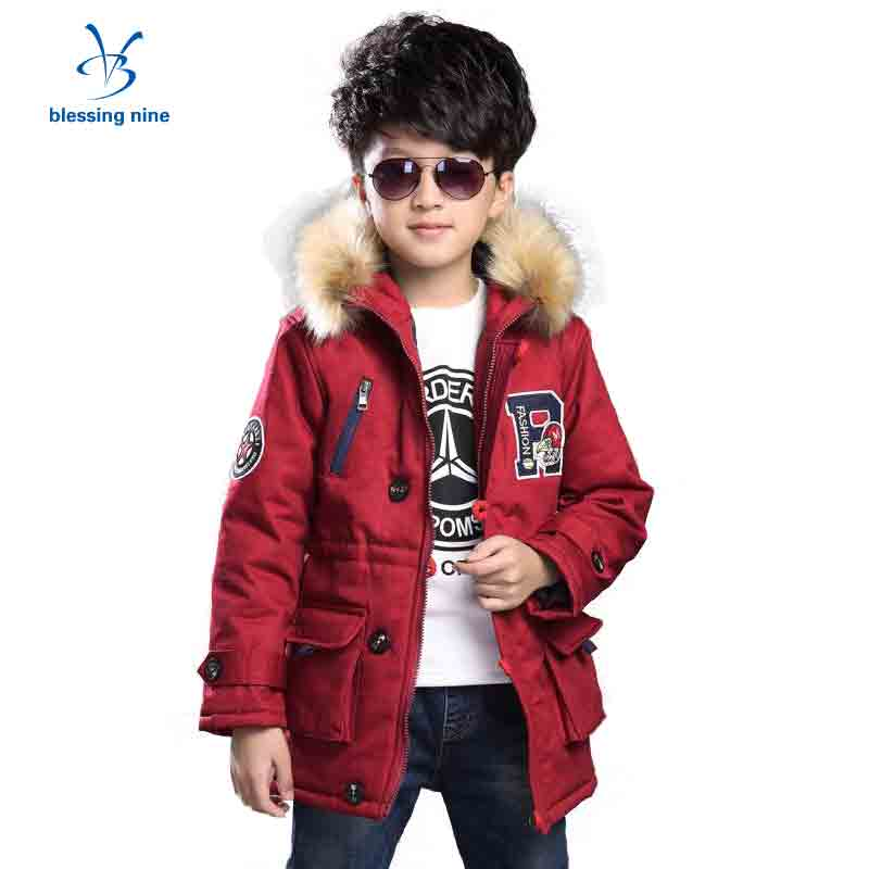 Boys Snowsuit Winter Clothes for Teens Parka Kids Jacket Fur Collar Hooded Thick Boy Coat Children Outerwear Warm Windbreaker boys winter jacket cotton padded fur collar hooded long kids outerwear coat thicken warm boy winter coat children clothing