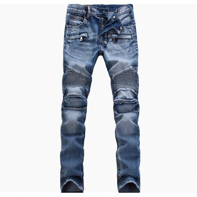 2017 New Fashion Mens Biker Jeans ripped jeans for men three dimensional cut fold Denim Pants ...