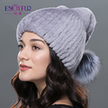 ENJOYFUR winter fur hats real rex rabbit fur hat with big silver fox fur pom poms kinitted warm cat lovely fur cap high-end hats