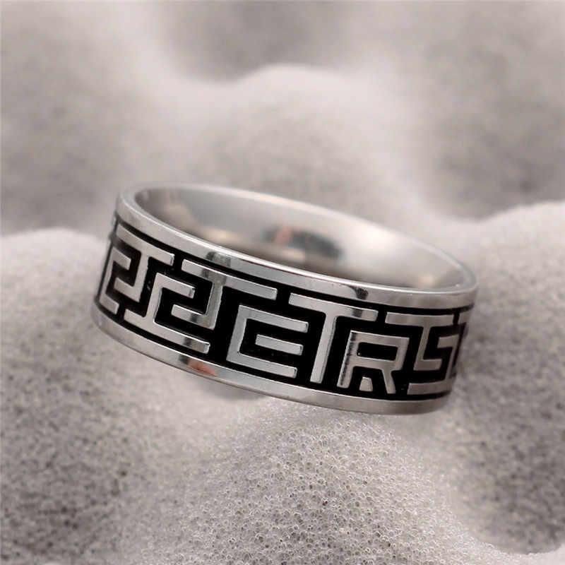 """VINTAGE 316L แหวนสแตนเลสสำหรับผู้ชายและผู้หญิงไม่เคยเลือน Power Lucky """"OM Mani Padme Hum"""" Sanskrit พุทธ Mantra แหวน"""