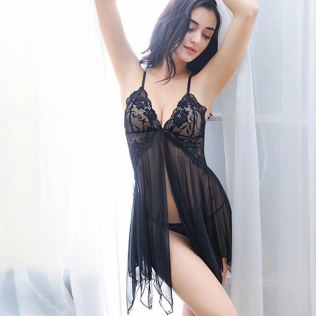 0dd5897d2 2019 New Lace Nightwear Women Night Dress Sexy Lingerie V-neck Sleeveless Sleepwear  Nighties Mini