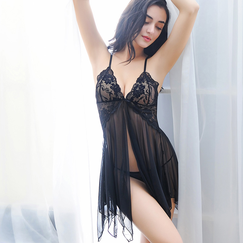 2019 New Lace Nightwear Women <font><b>Night</b></font> <font><b>Dress</b></font> <font><b>Sexy</b></font> Lingerie V-neck Sleeveless Sleepwear Nighties Mini Nightgown Sleeping <font><b>Dress</b></font> image