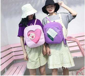 Women Backpack Candy Color PU Leather Transparent Love Heart Shape Backpack Kawaii Harajuku Schoolbags For Teenage Girls