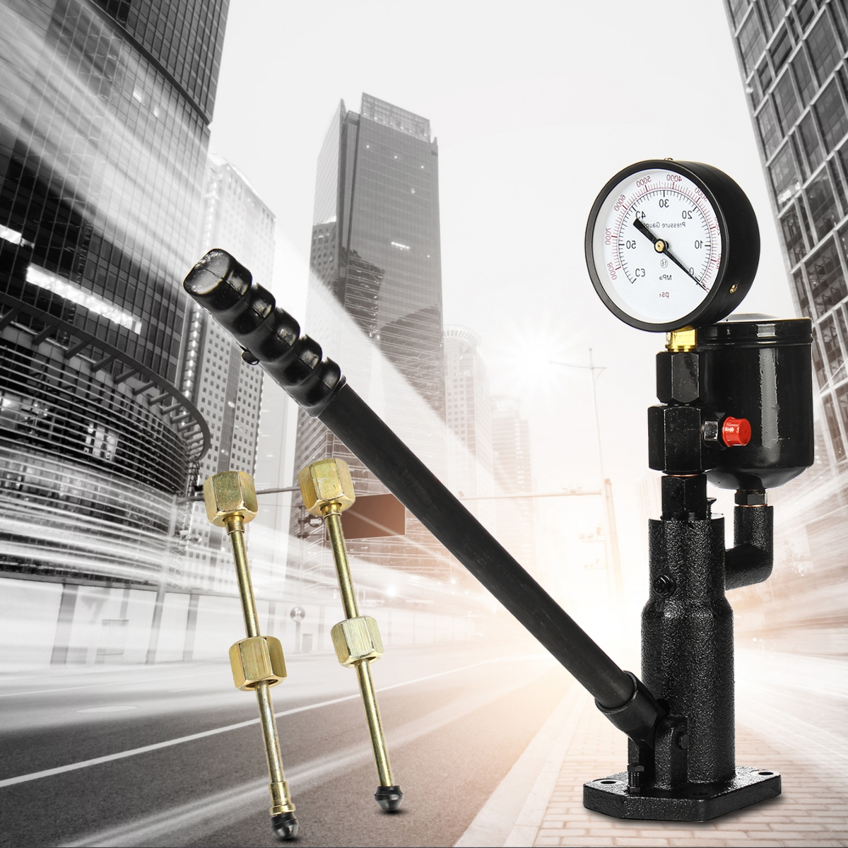 Diesel/Injector Nozzle Pressure Tester 1L Pop Dual Scale Read Gauge Bar/PSI 0-60Mpa Steel Black High Pressure Pipe Diagnostic цены