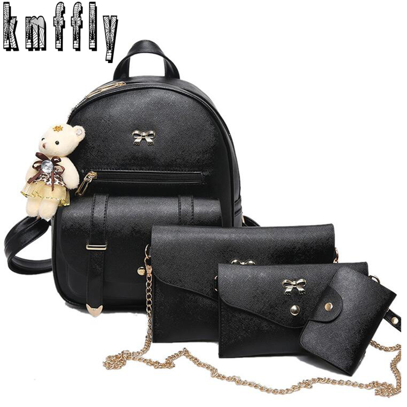 KMFFLY new 4Pcs Set Women Pu Leather Fashion Backpack Famous Brand School Bags for Girls sac