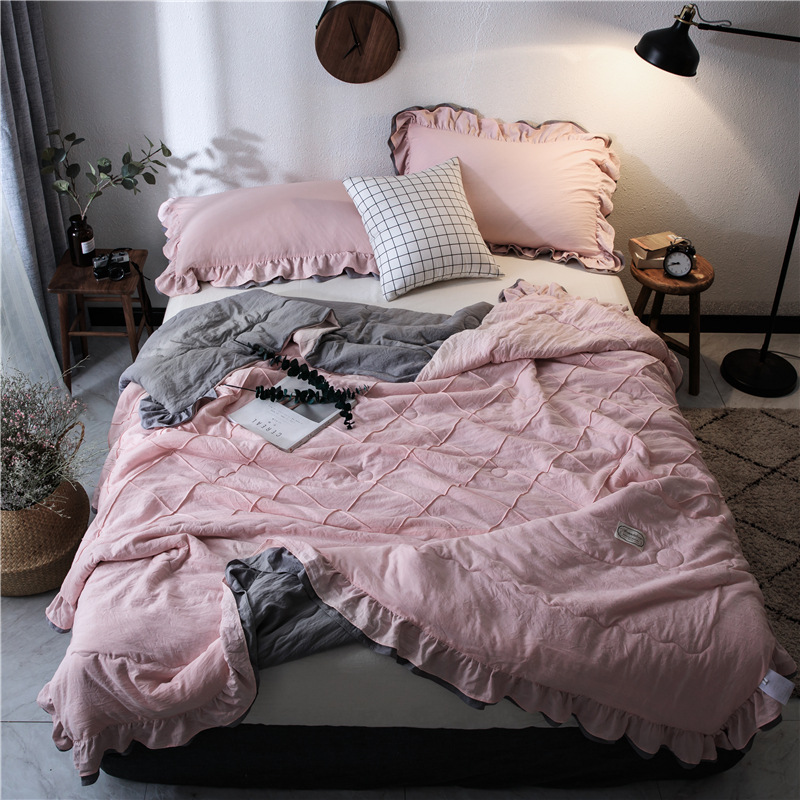 FAMIFUN New Bedding Solid Thin Summer Quilt Blankets Soft Comforter Bed Cover Quilting Suitable For Adults Kids Home Textiles