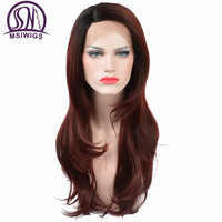 MSIWIGS Kinky Straight Synthetic Lace Front Wigs for Women Heat Resistant Burgundy Afro Ombre Wig Long Natural Hair