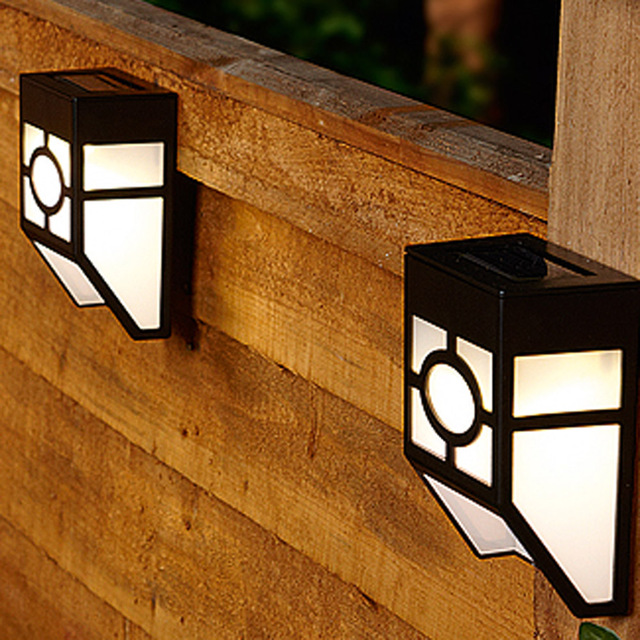 Hot Waterproof Solar Wall Lamps Abs Led Path Light Outdoor Garden Lightings Yard