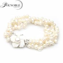 YouNoble, настоящий многослойный браслет для женщин, белый шарик, пресноводный ювелирный браслет с жемчугом, массивный Шарм для девочек, лучший подарок на день рождения