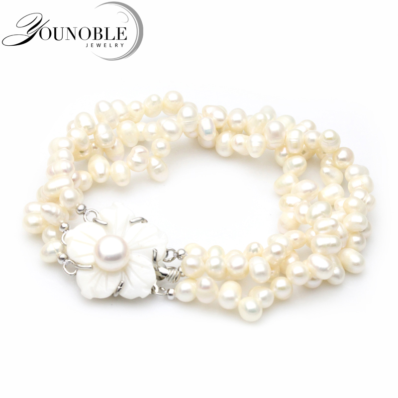 все цены на YouNoble real multilayer bracelet for women,white bead freshwater pearl jewelry bracelet statement charm girl birthday best gift онлайн