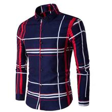 Fashion 2017 autumn winter men's long sleeve shirt large camisa social masculina grid printed  dress shirts Men's casual shirt long sleeve buttoned large grid shirt
