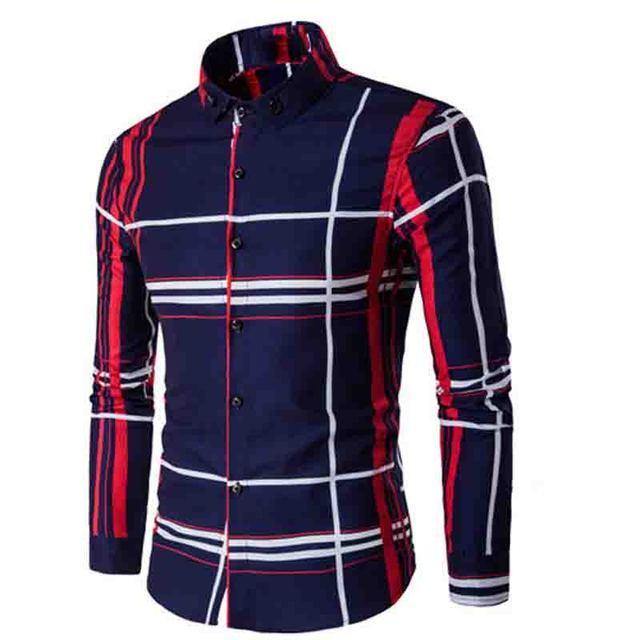 Fashion 2019 autumn winter men's long sleeve shirt large camisa social masculina grid printed  dress shirts Men's casual shirt