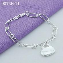Classic Jewelry Bracelet Silver Heart Shaped Chain Bracelet  Wild Style Fashion For Women Bracelet Factory Price chic silver heart wing bracelet for women