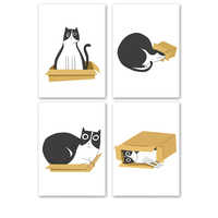 HD Picture Lovely Animal Cat Poster Wall Canvas Creative Painting Abstract Photo Simple Nordic Prints Quote Artwork Decor