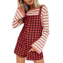 ac2de90443 KANCOOLD mujeres mono Casual Plaid para las mujeres ajustable bolsillos de  algodón elástico pantalones cortos 2JULYO17