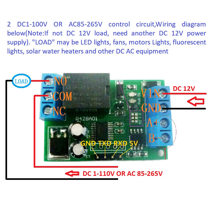 12V Multifunctional Serial Relay Module PLC Controller RS485 EM88