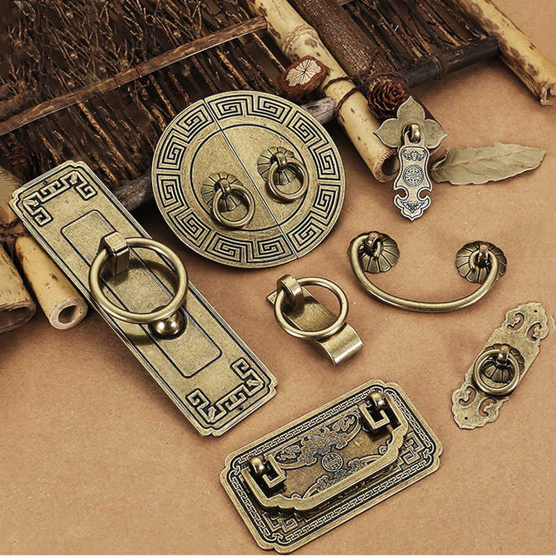 Vintage Antique Bronze Cabinet Handles Chinese Style Furniture Handle Drawer Knobs Wardrobe Door Pulls Furniture Hardware
