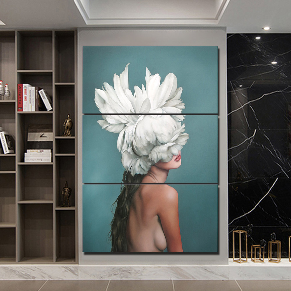 Women Flower Abstract Pictures Wall Art 3 Piece Canvas Painting Sexy Girl Poster for Living Room Home Decor F2826 in Painting Calligraphy from Home Garden