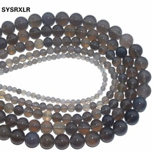 Wholesale Aaa+ Natural Gray Agat Stone Round Beads For Jewelry Making DIY Bracelet Necklace 4/6/8/10/12 mm Strand 15.5