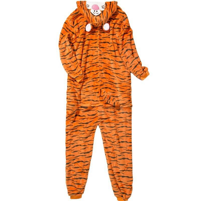 Funny Orange Tiger Animal Kigurumi Flannel Onesie For Women Pajamas Party Bodysuit Cosplay Unisex Sleepwear Halloween Pyjamas (5)