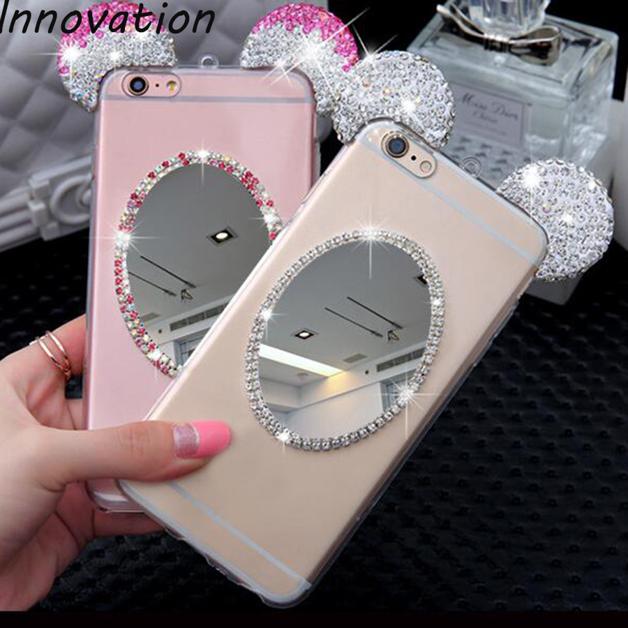 Innovation Rhinestone Case For Samsung Galaxy S8 Luxury Fundas Mickey Ears Glitter Bling Diamond TPU Silicone Mirror Phone Cover
