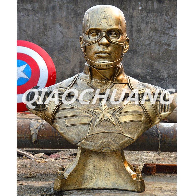 Captain America 3: Civil War Bust Captain America 1:1 Statue (LIFE SIZE) Avengers Half-Length Photo Or Portrait Imitation Copper statue avengers captain america 3 civil war iron man tony stark 1 2 bust mk33 half length photo or portrait with led light w216
