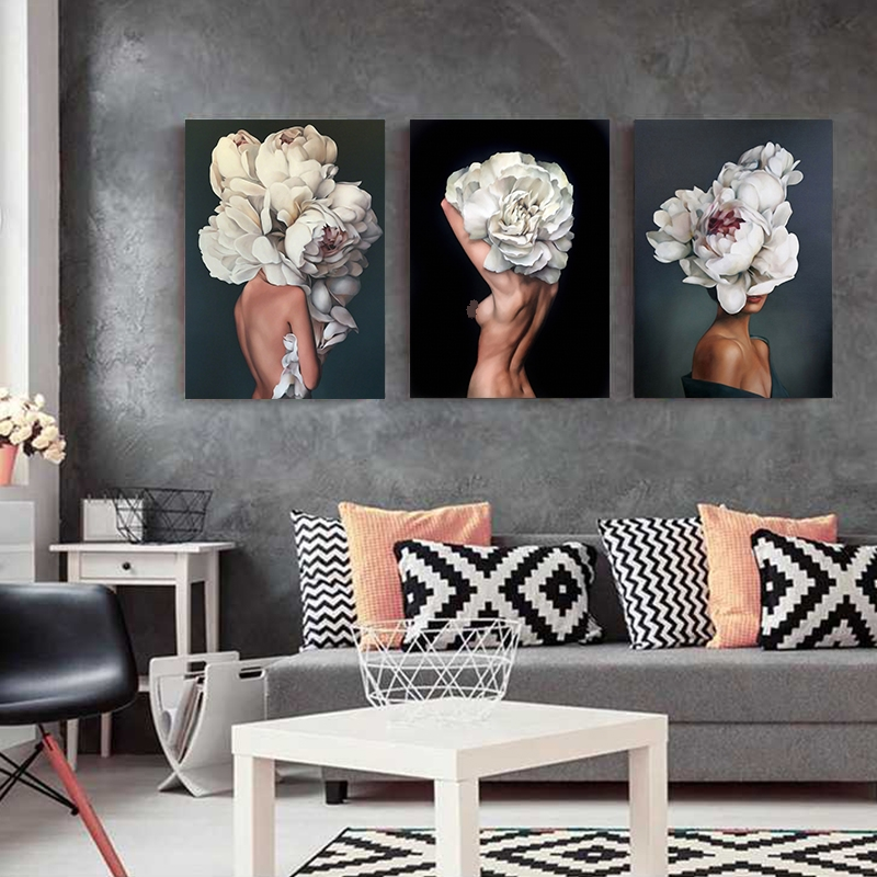 HTB1Be2TUSzqK1RjSZPcq6zTepXaK Flowers Feathers Woman Abstract Canvas Painting Wall Art Print Poster Picture Decorative Painting Living Room Home Decoration