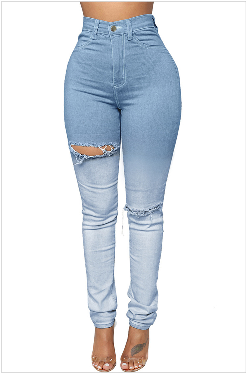 6a836cadfd8cb 2019 Light Blue Sexy Push Up High Waist Ripped Jeans For Women Cute ...